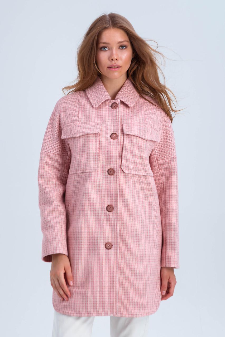 Пальто женское демисезонное в клетку Майли розовый цвет