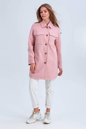 Пальто женское демисезонное в клетку Майли розовый цвет, фото 2