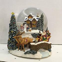 """Водный снежный шар с анимацией """" Санта в колеснице"""""""