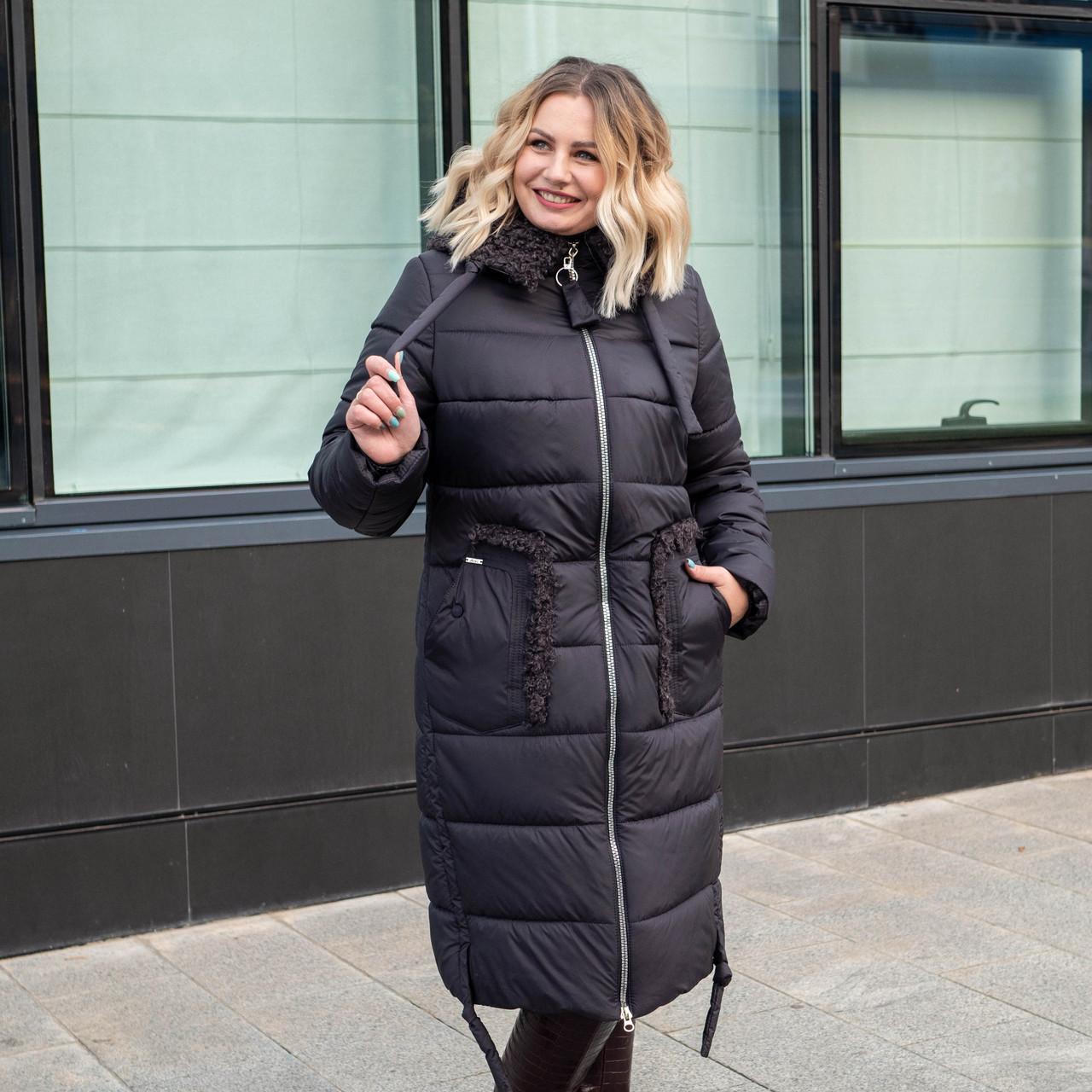 Зимове жіноче пальто великих розмірів 48-60 графіт