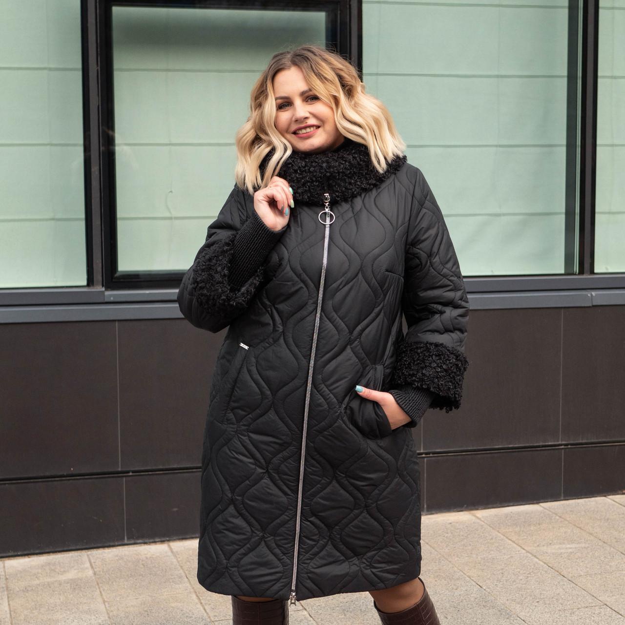 Зимнее женское пальто больших размеров 60 черный