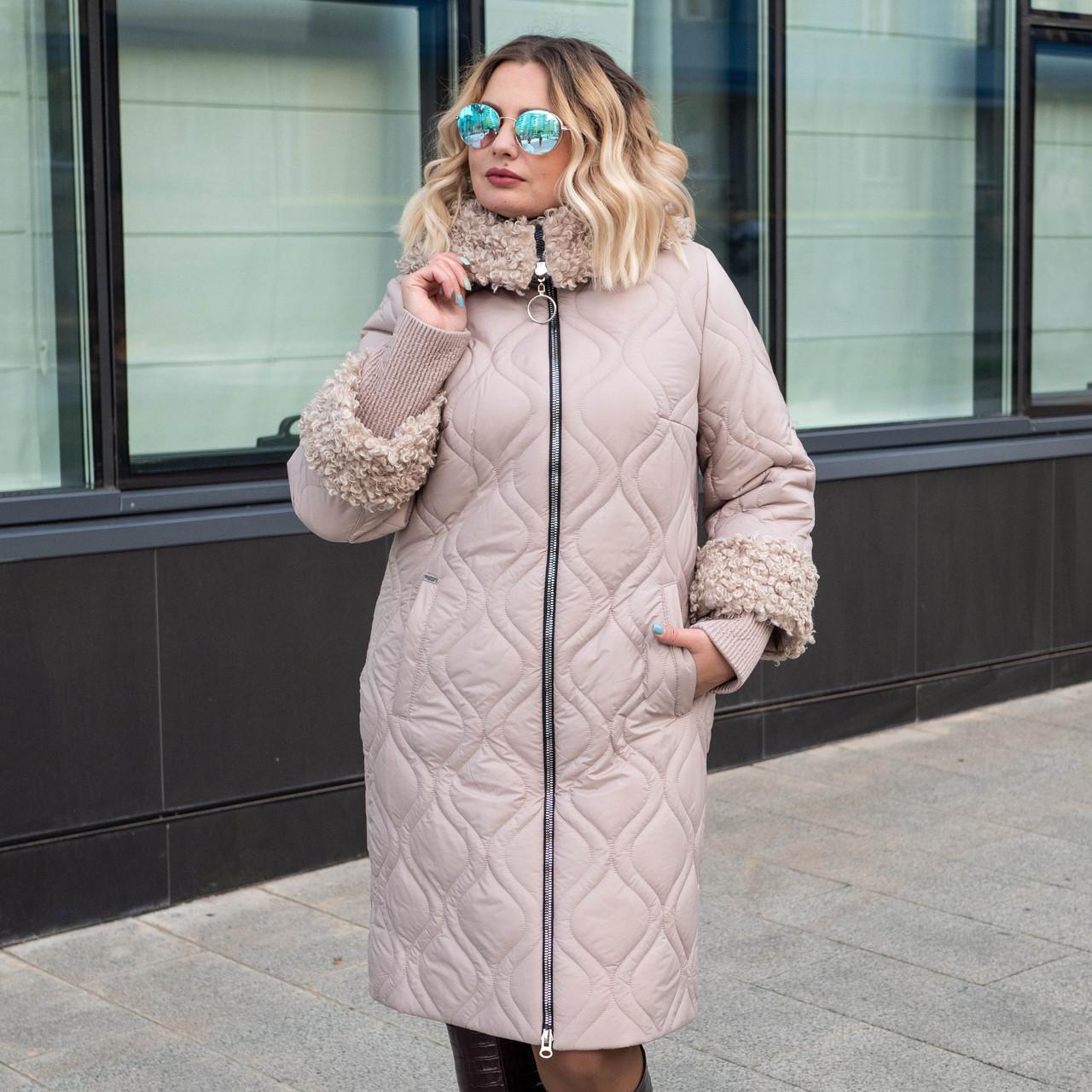 Зимние женские куртки больших размеров 50-60 бежевый