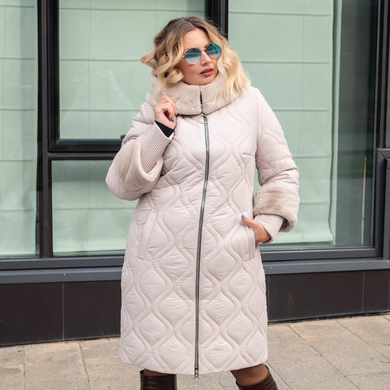 Женские куртки зима  больших размеров 50-60 бежевый