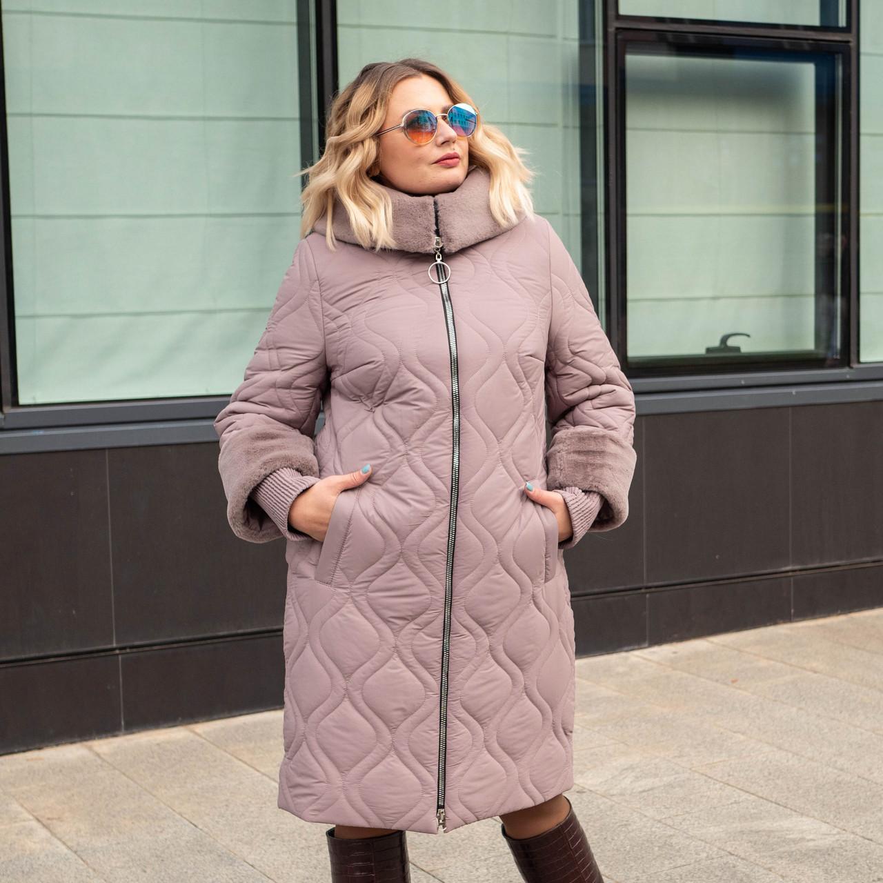 Женские зимние куртки больших размеров  56 пудра