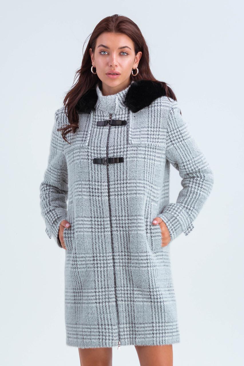 Пальто женское короткое шерстяное зимнее в клетку с мехом Корделия серый цвет