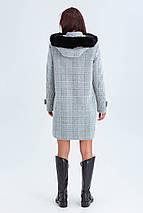 Пальто женское короткое шерстяное зимнее в клетку с мехом Корделия серый цвет, фото 3