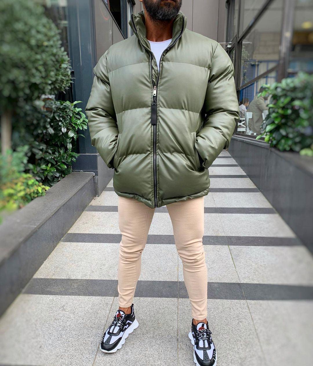 😜 Куртка - Мужская куртка оливковая дутая