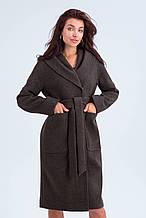 Пальто женское шерстяное сезон весна-осень Лаура коричневый цвет с капюшоном
