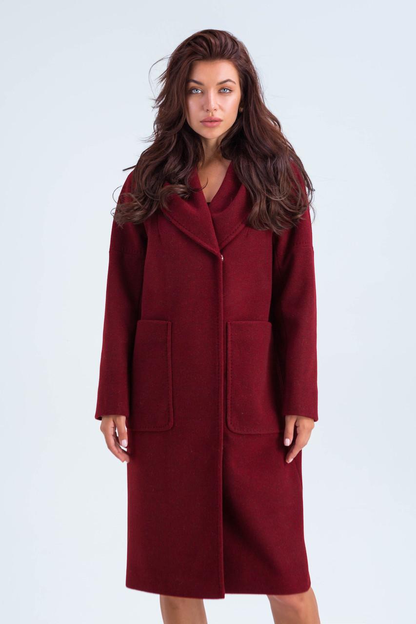 Пальто женское шерстяное сезон весна-осень Лаура бордо цвет с капюшоном