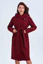 Пальто женское шерстяное сезон весна-осень Лаура бордо цвет с капюшоном, фото 2