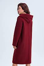 Пальто женское шерстяное сезон весна-осень Лаура бордо цвет с капюшоном, фото 3
