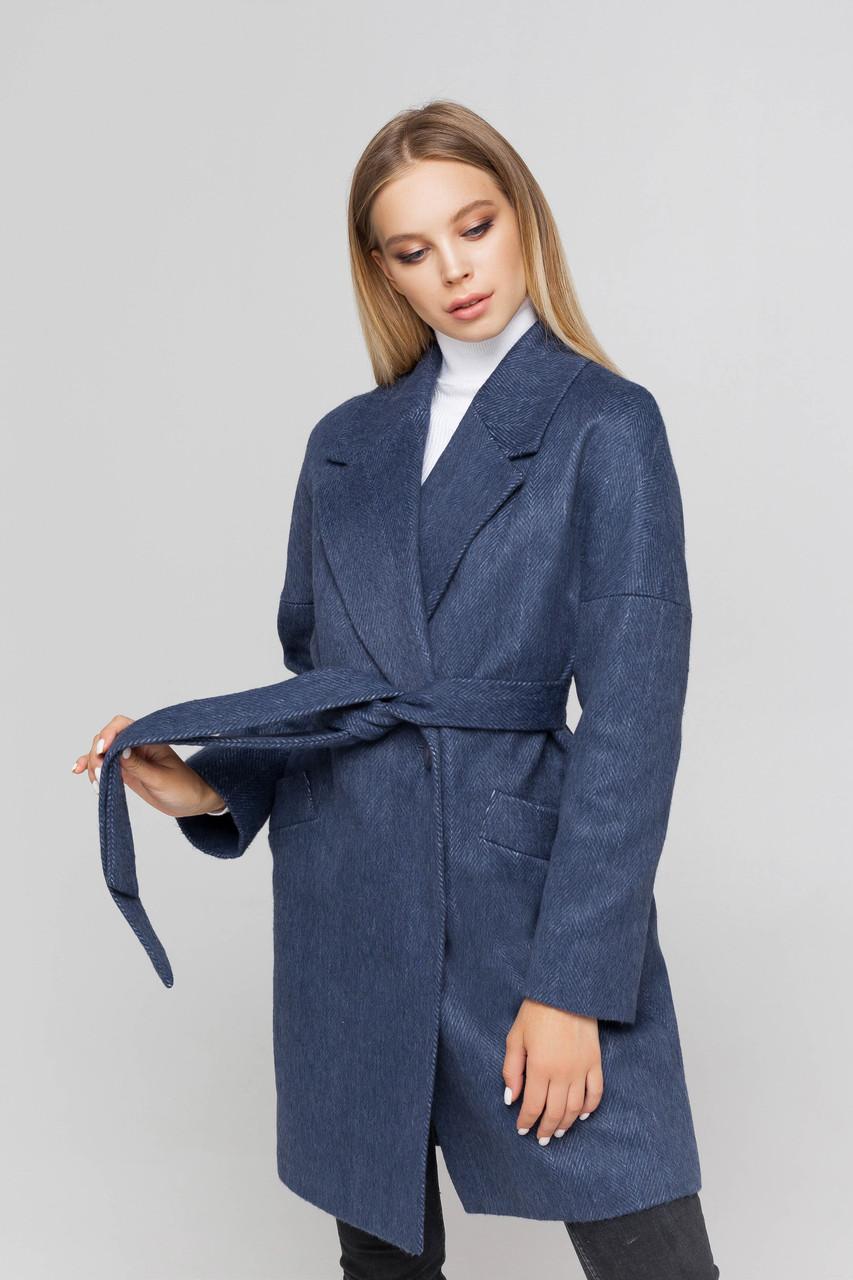 Пальто женское шерстяное демисезонное Астрид джинс цвет