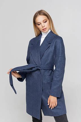 Пальто женское шерстяное демисезонное Астрид джинс цвет, фото 2