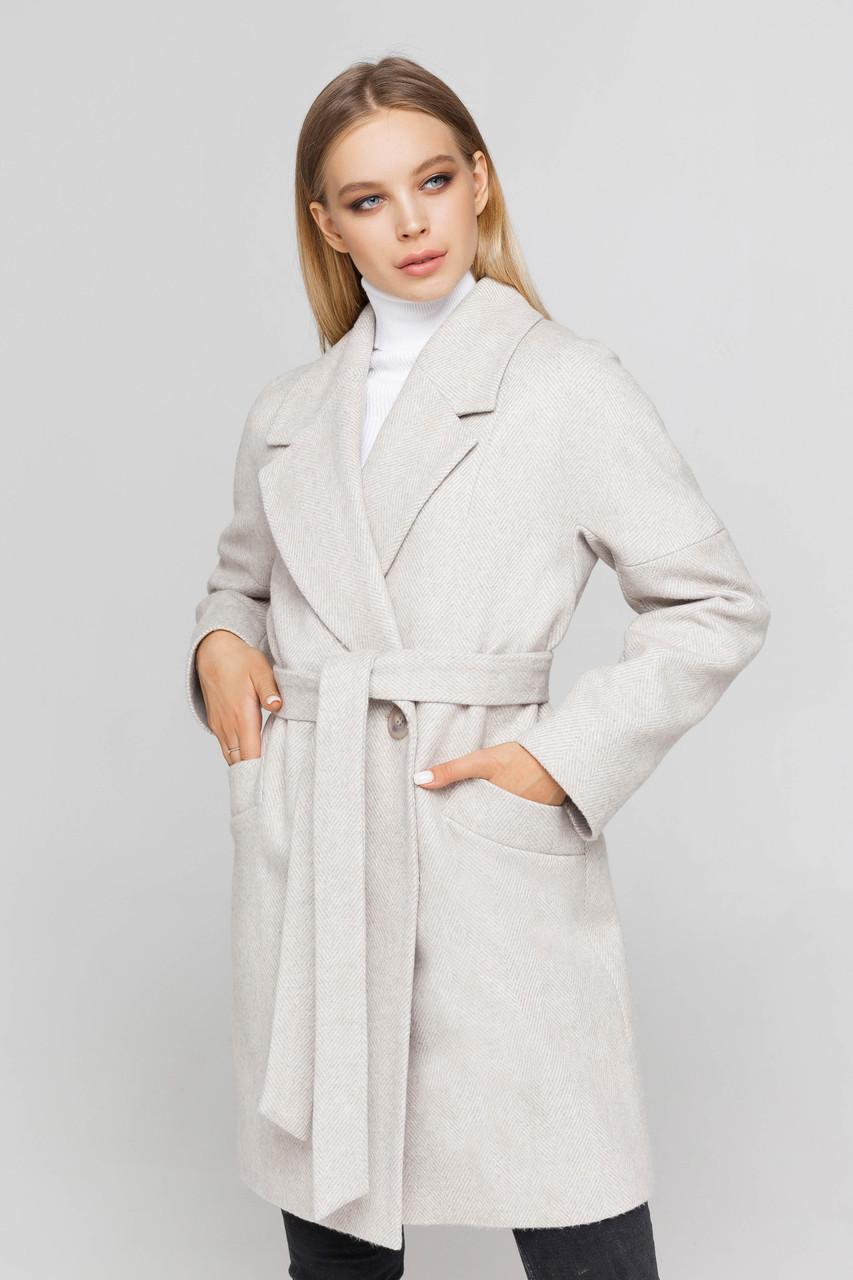 Пальто женское шерстяное демисезонное Астрид бежевый цвет