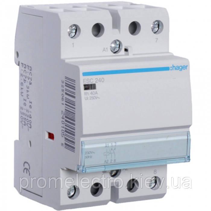 Контактор модульный стандарт 40 А с катушкой на 230 В АС 2Н.О. HAGER ESC240