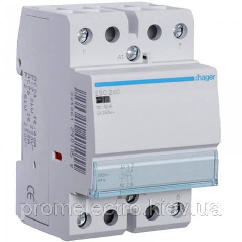 Контактор модульный стандарт 40 А с катушкой на 230 В АС 2Н.О. HAGER ESC240, фото 2