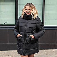Женские куртки зима большого размера 50-60 черный