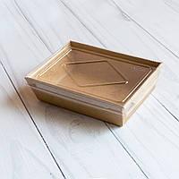 Крафтовый бумажный контейнер для еды 700 мл 150х100х45 мм (200 шт в упаковке)