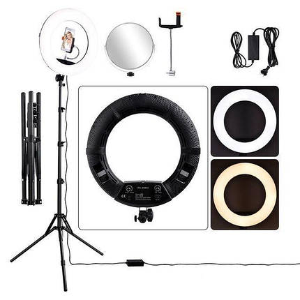 Кільцевий LED світло, кільцева лампа зі стійкою FS-480II Bi-color (3200-5500k) (Чорна), фото 2