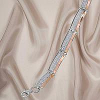 """Красивий жіночий срібний браслет з золотими пластинами і фіанітами """"Меггі 2 """", фото 1"""