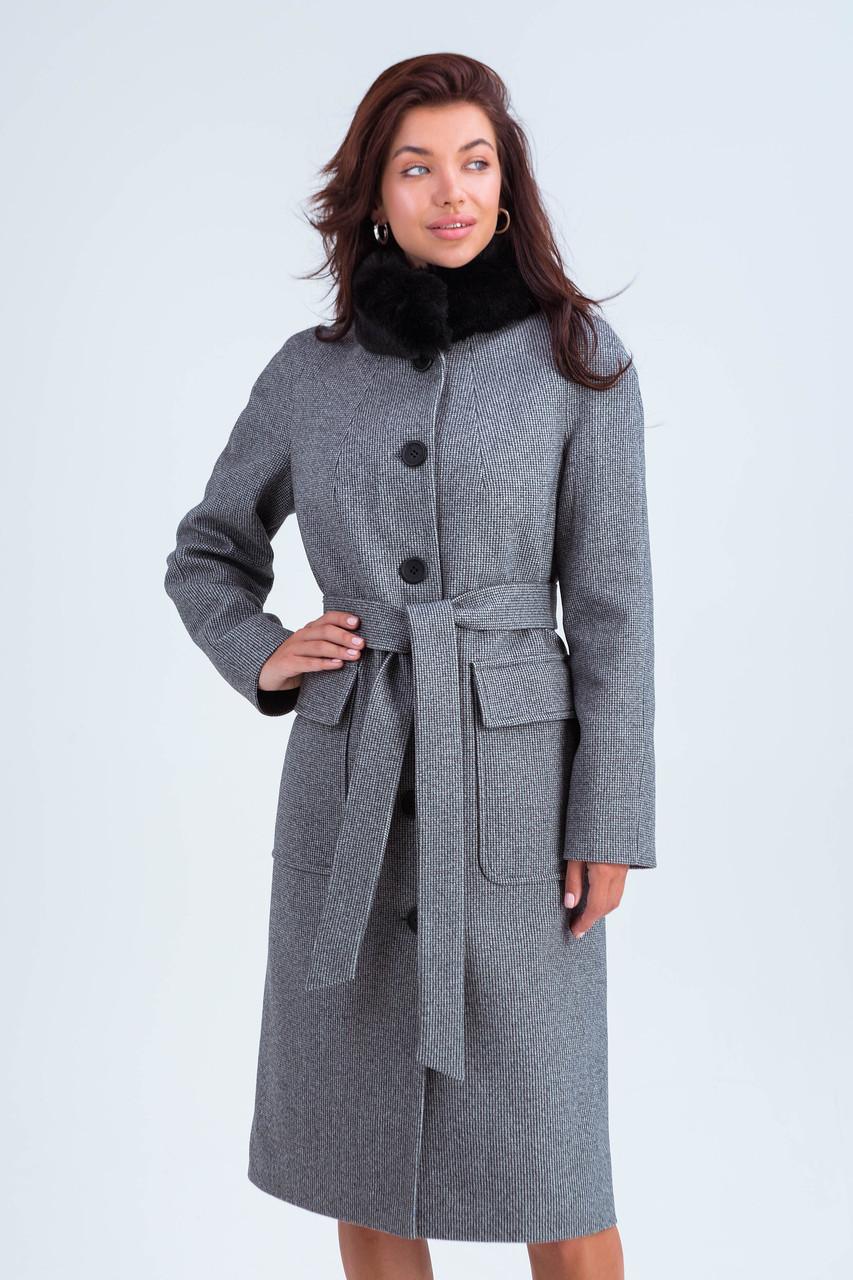 Пальто женское зимнее Эльза черно-белый цвет