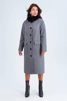 Пальто женское зимнее Эльза черно-белый цвет, фото 2