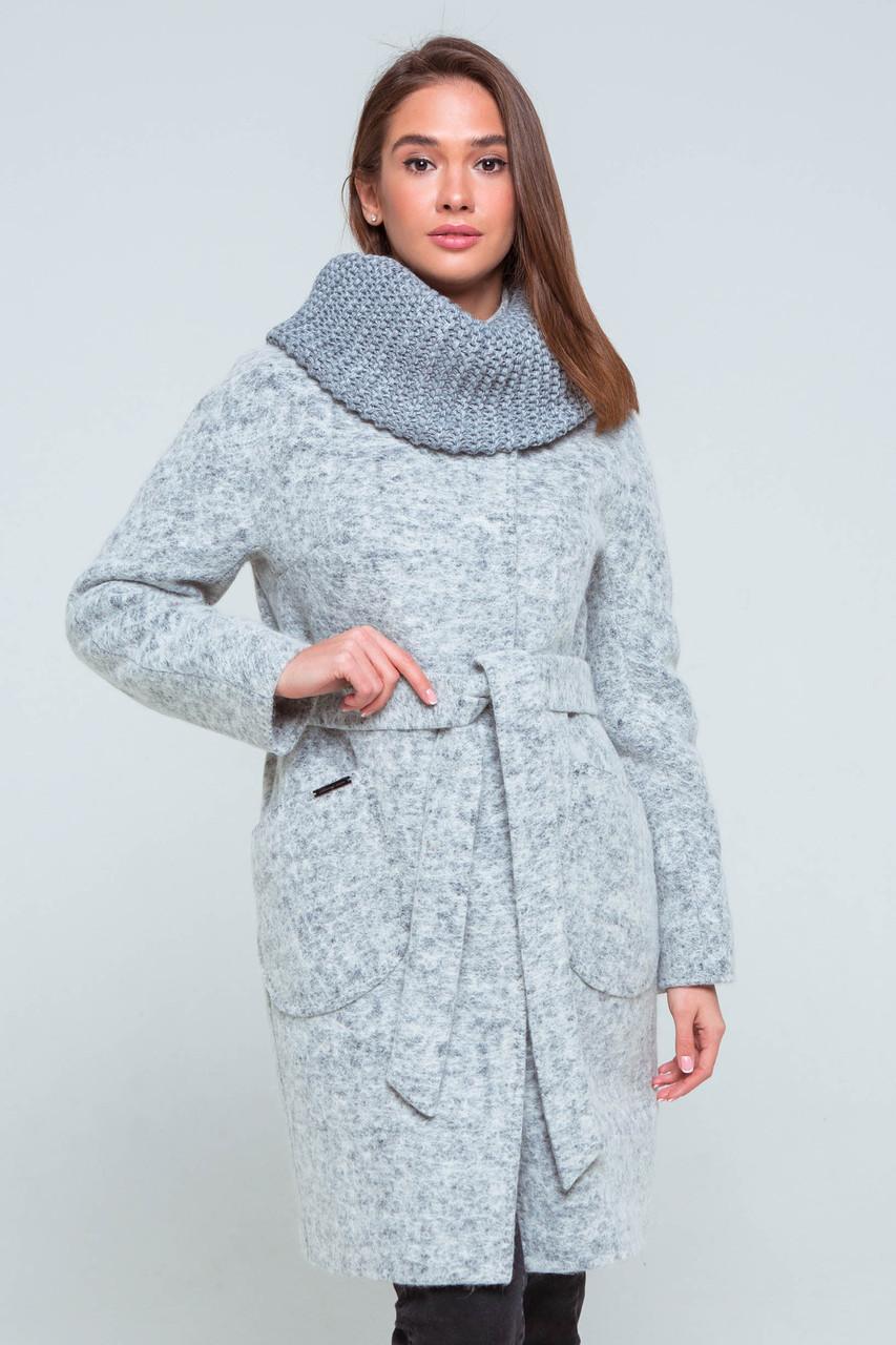 Пальто женское шерстяное демисезонное Фели светло-серый цвет