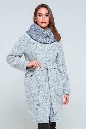 Пальто женское шерстяное демисезонное Фели светло-серый цвет, фото 2