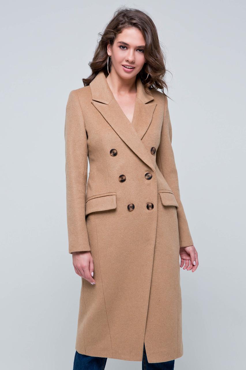 Пальто женское шерстяное демисезонное Рене бежевый цвет