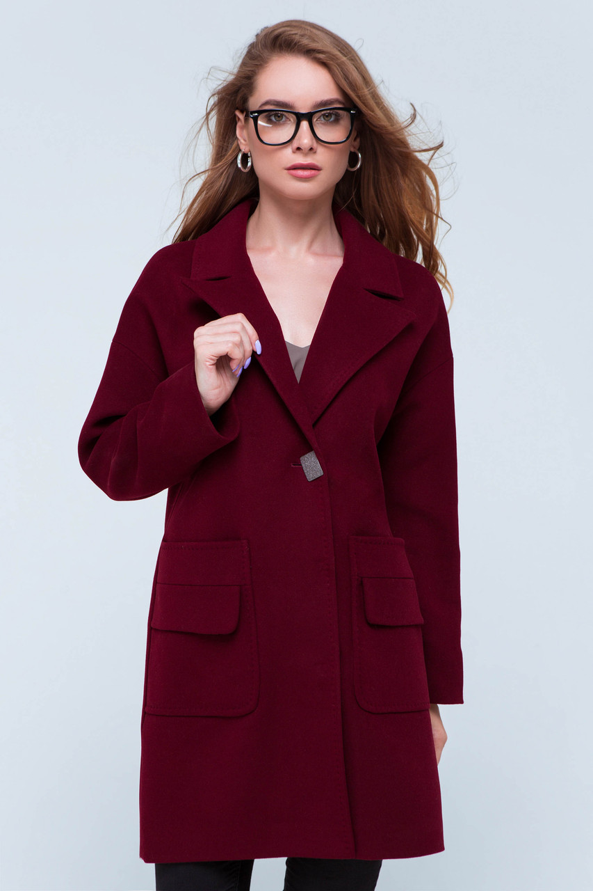 Пальто женское кашемировое сезон весна-осень Джуди бордо цвет