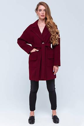 Пальто женское кашемировое сезон весна-осень Джуди бордо цвет, фото 2