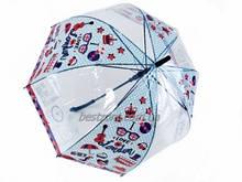 Молодёжно-подростковый зонт колокол трость с прозрачным куполом на 8 спиц рисунок-прозрачный