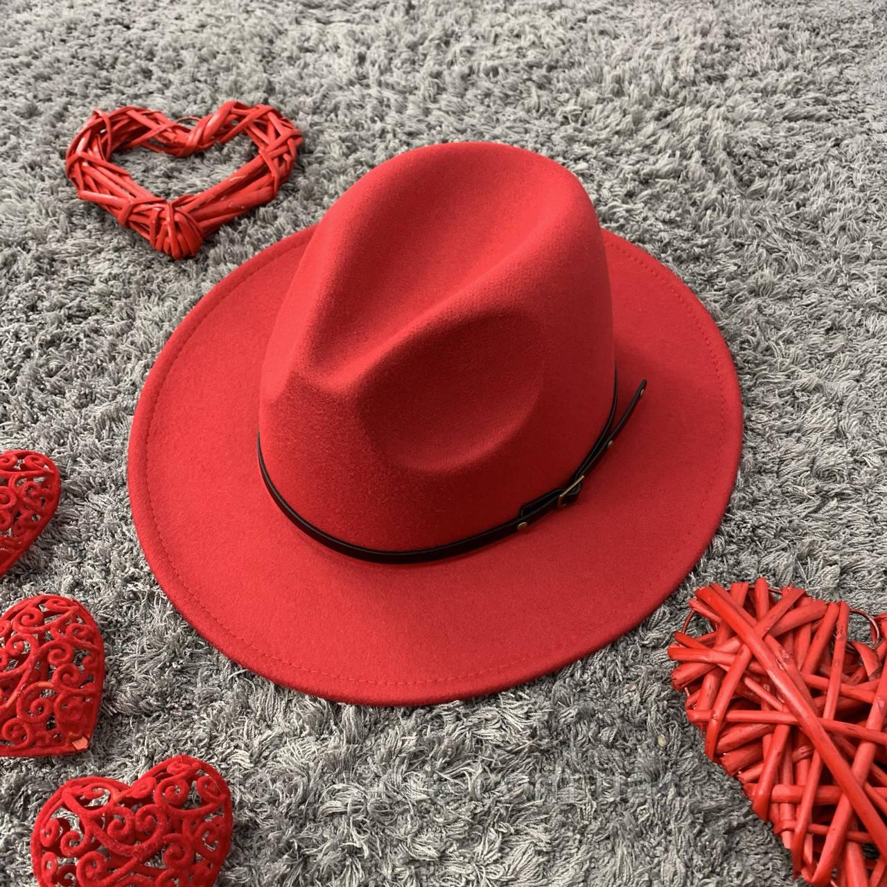 Шляпа Федора унисекс с устойчивыми полями Classic красная
