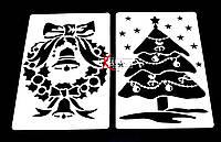 Трафареты новогодние для оформления окон и витрин  6 шт.