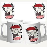 Чашка подарок на Новый Год 2021 с быком