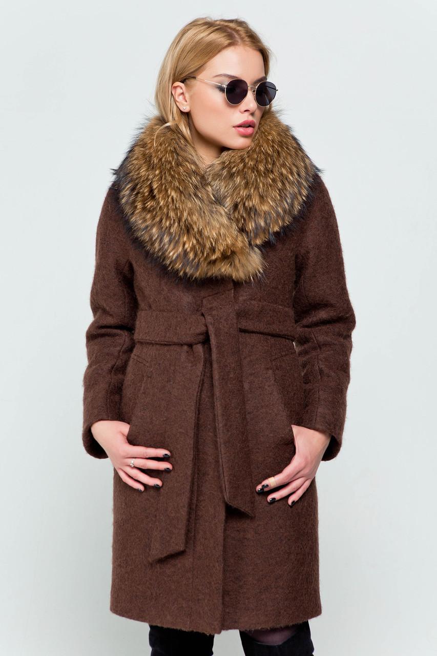 Пальто женское зимнее Эрика коричневый цвет