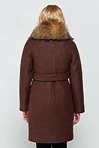 Пальто женское зимнее Эрика коричневый цвет, фото 2
