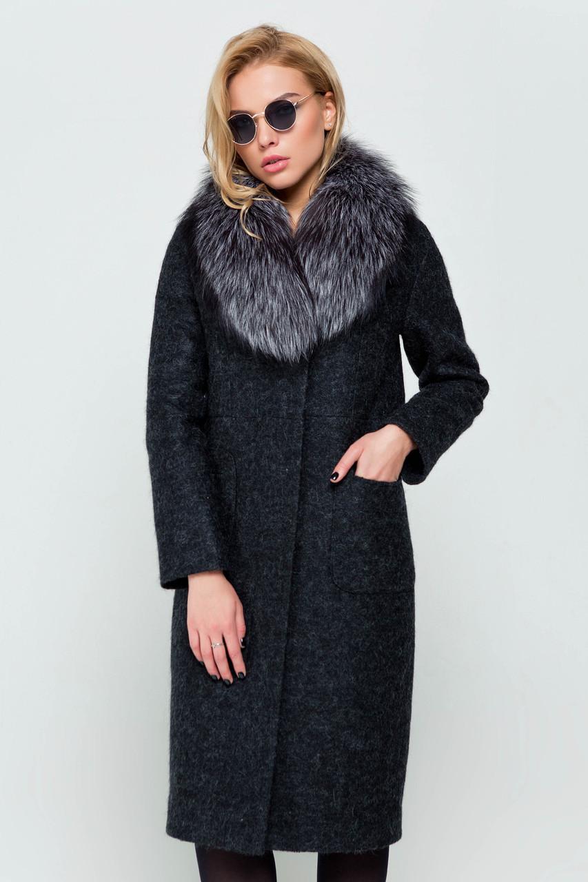 Пальто длинное женское зимнее с мехом Фиби черный цвет