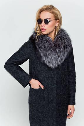 Пальто длинное женское зимнее с мехом Фиби черный цвет, фото 2