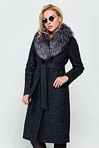 Пальто длинное женское зимнее с мехом Фиби черный цвет, фото 3