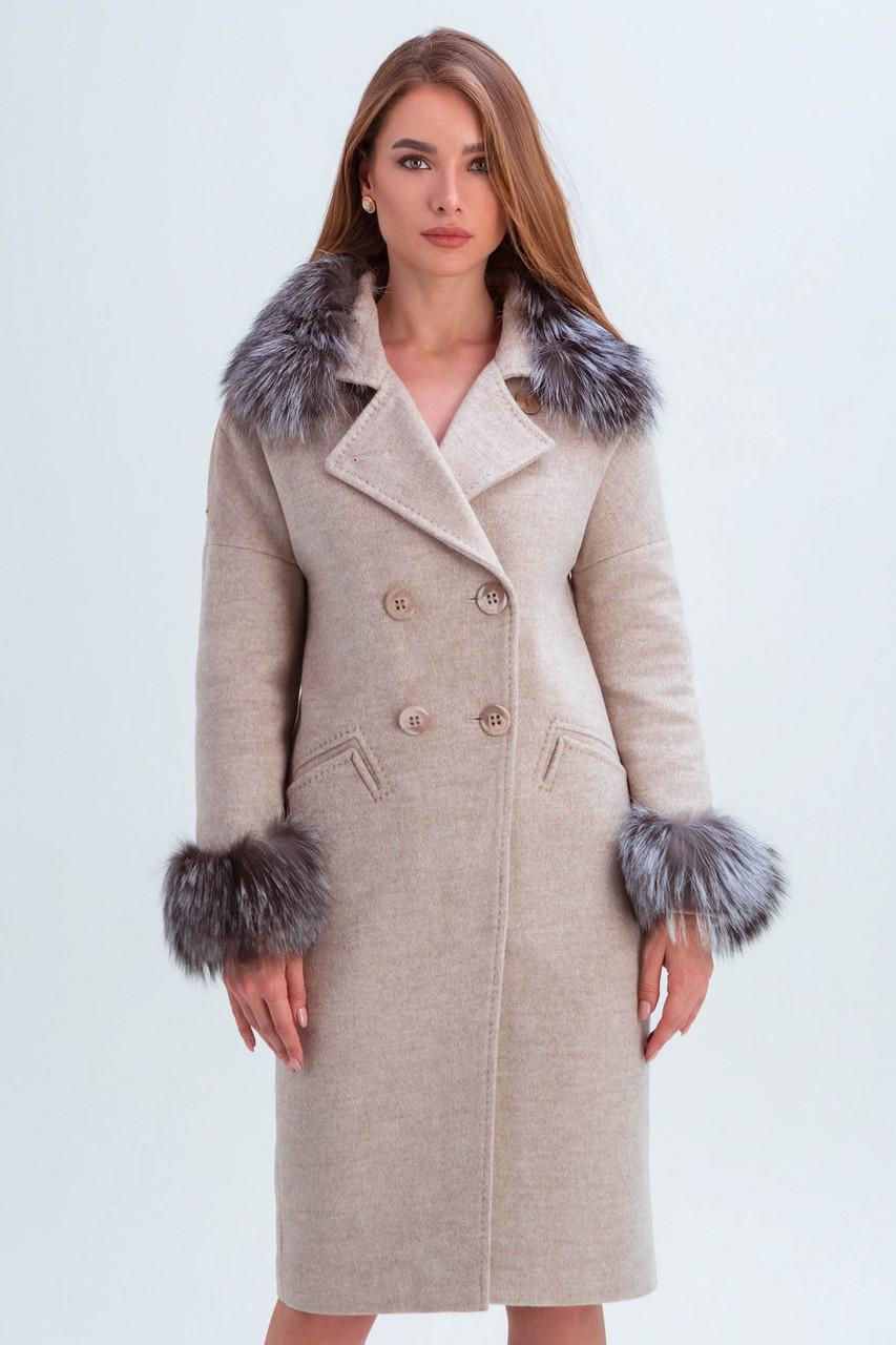 Пальто женское шерстяное зимнее с мехом Уитни бежевый цвет