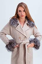 Пальто женское шерстяное зимнее с мехом Уитни бежевый цвет, фото 2