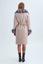Пальто женское шерстяное зимнее с мехом Уитни бежевый цвет, фото 3