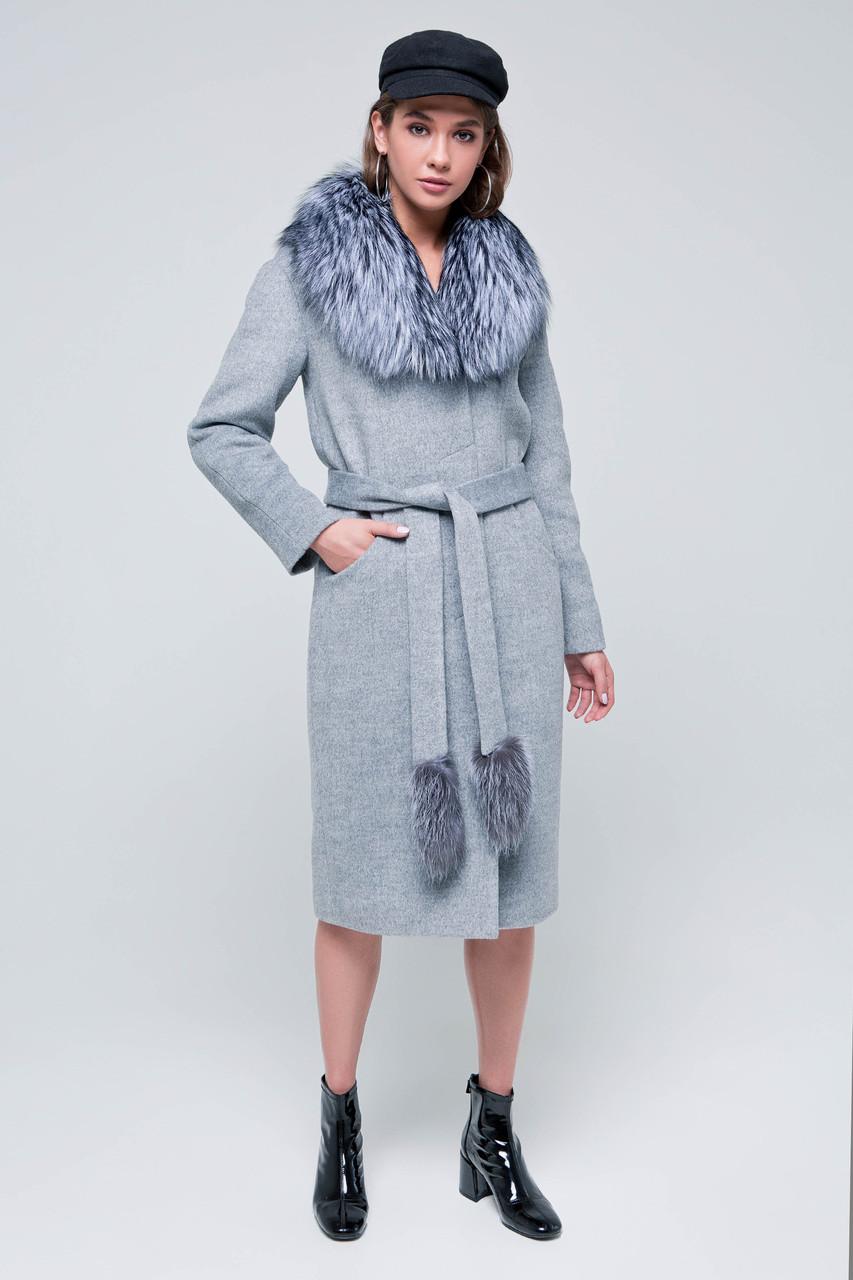Пальто женское зимнее с мехом Тати серый цвет