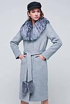 Пальто женское зимнее с мехом Тати серый цвет, фото 2