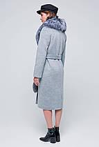 Пальто женское зимнее с мехом Тати серый цвет, фото 3