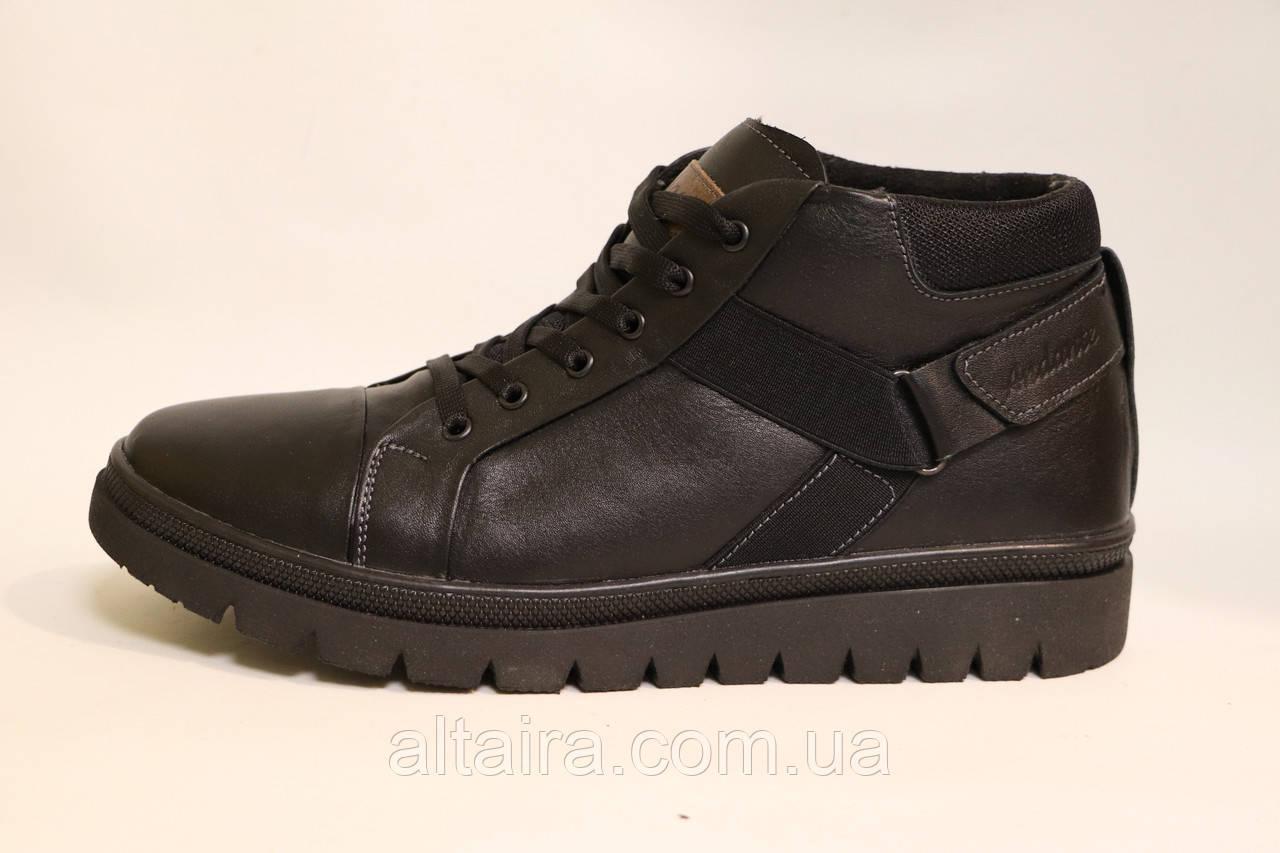 Чоловічі зимові шкіряні черевики чорного кольору. Розміри 40,41,44,45