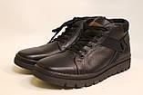 Чоловічі зимові шкіряні черевики чорного кольору. Розміри 40,41,44,45, фото 2