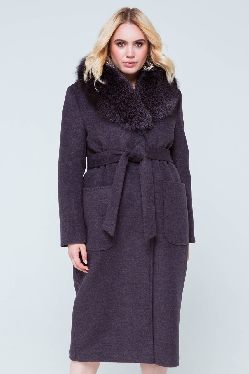 Пальто длинное женское шерстяное зимнее с мехом Нана ультрафиолет цвет