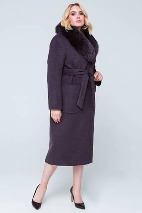 Пальто длинное женское шерстяное зимнее с мехом Нана ультрафиолет цвет, фото 2